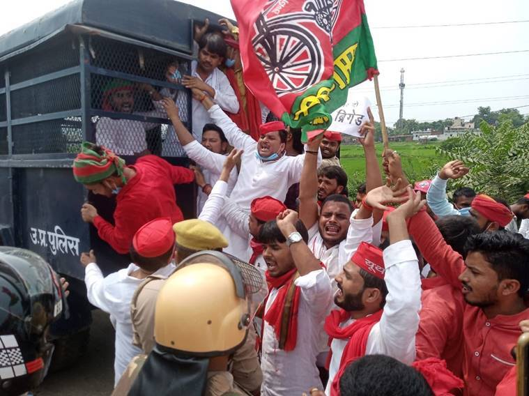 Samajwadi Party, Samajwadi Party news, Samajwadi Party protests, up police, uttar pradesh