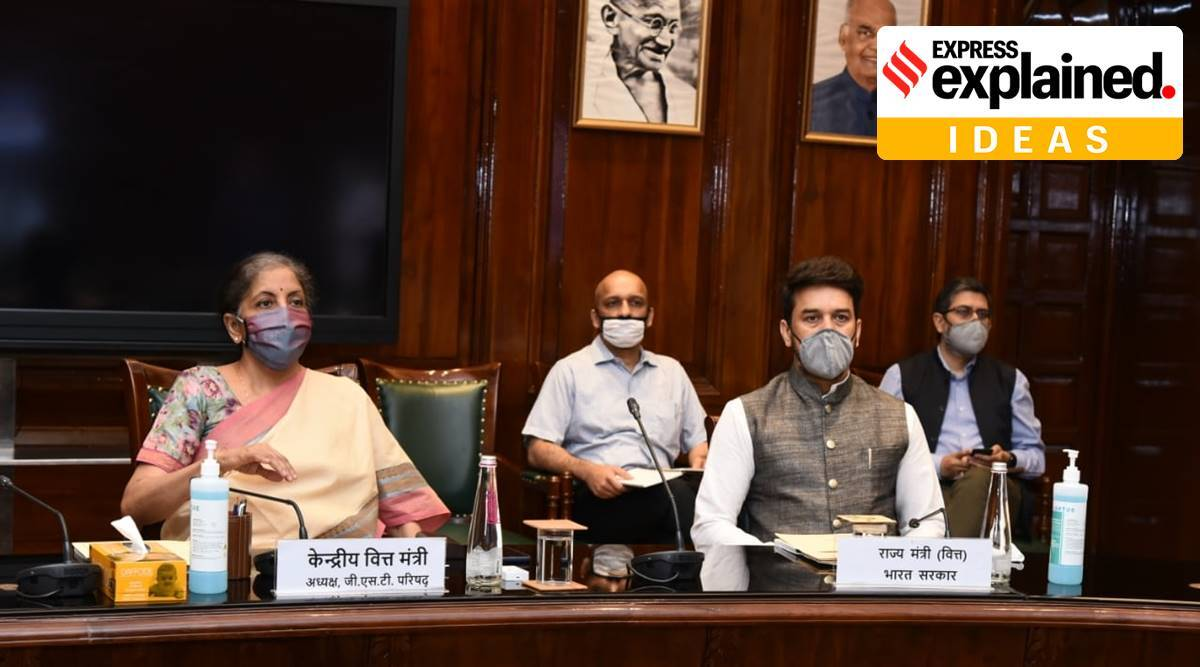 GST, centre borrowing, GST deficit, should states borrow or centre, GST payments to states, express explained, sushil modi, nirmala sitharaman, indian express
