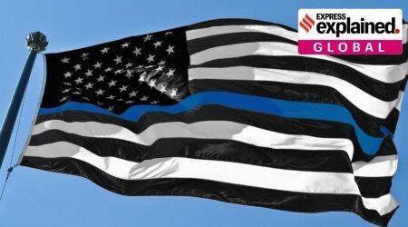 thin blue line, what is thin blue line flag, us thin blue line flag, thin blue line racism flag, new thin blue line flag, us elections, us racism, us elections 2020, donald trump, explained, express explained,