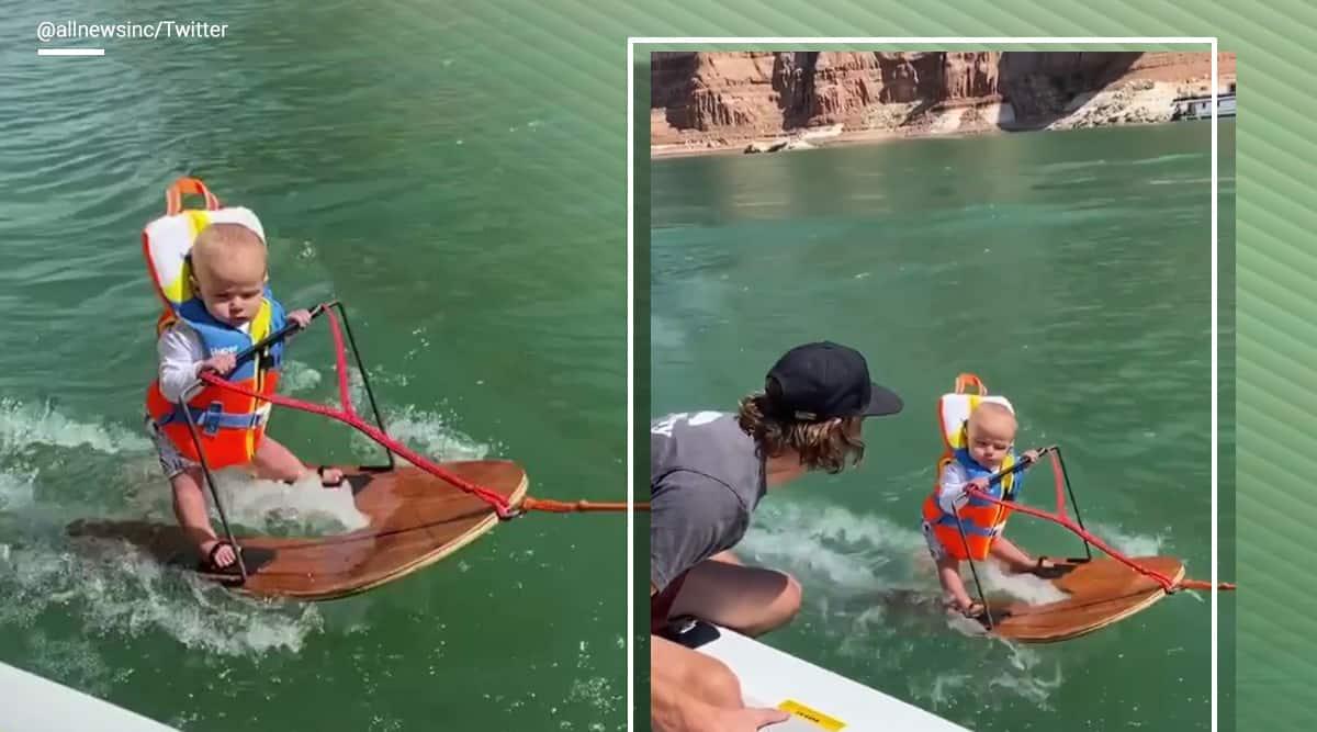 Toddler videos, Toddler wakeboarding, 6 month old wakeboarding, baby videos, baby wakeboarding, Lake Powell, Viral video, Trending news, Indian Express news.