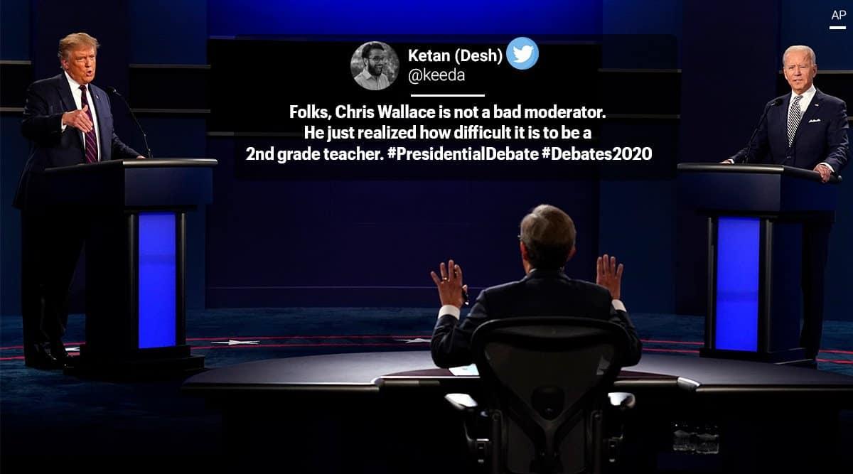 US Presidential Debate, Presidential debate 2020, donald trump, Joe Biden, trump biden presidential debate, biden trump debate memes, US Presidential elections, 2020 US Presidential election memes, viral news, trending news, indian express