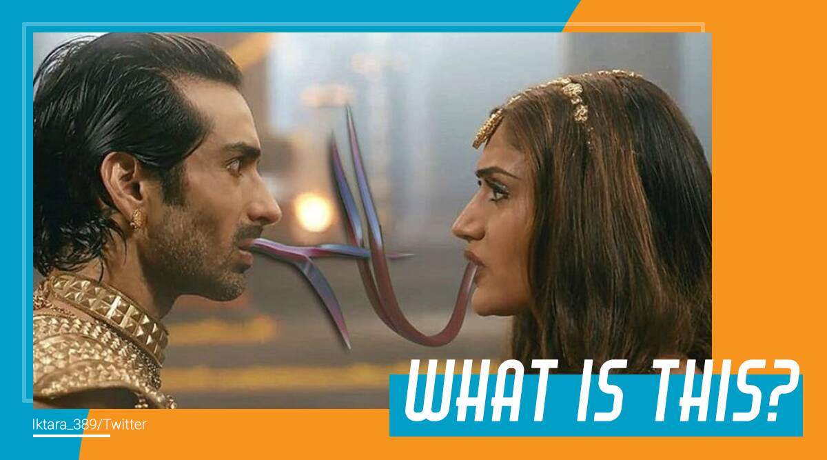 naagin 5 snake kiss, naagin 5 actors, naagin 5 funny scenes, naagin 5 cast, naagin 5 viral picture, snakes, trending, indian express, indian express news