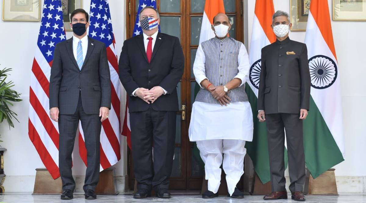 India US 2+2 dialogue, Mike Pompeo India, S Jaishankar, Rajnath Singh, India-US ties, Basic Exchange and Cooperation Agreement, Indo-US BECA, India news, Indian express