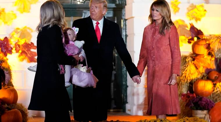 White House Halloween 2020, Whitehouse Halloween celebrations, Halloween 2020, President Donald Trump and first lady Melania host Halloween 2020, Trump and Melania Halloween 2020 white house, White house Halloween celebrations viral video, White house Halloween coronavirus protocols,  Trending news, Indian Express news.