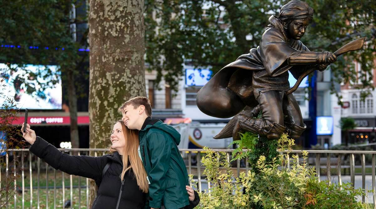 Harry Potter, Harry Potter statue in London, Harry Potter and the Philosopher's Stone, Harry Potter and Nimbus 2000 broom, indian express news