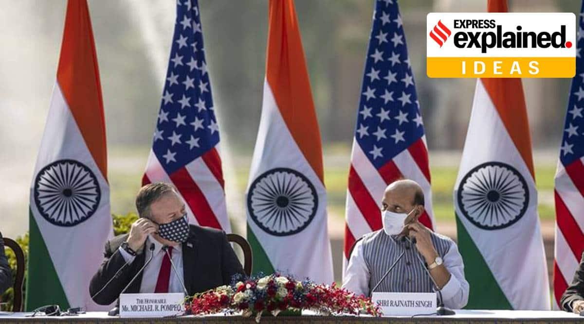 BECA, India US 2+2 doalogue, Narendra Modi, Donald trump, Rajnath Singh, Mike Pompeo, Indo-US defense ties, explained ideas, express explained