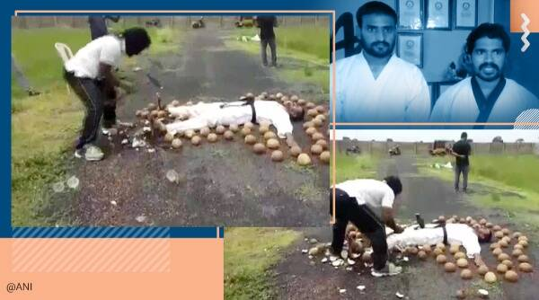 Guinness World Records, Blindfolded coconut smashing, World records, Andhra Pradesh, Viral video, Blindfolded coconut smashing record, Trending news, Indian Express news.