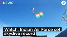 Watch: IAF set record of highest skydive landing at Khardungla Pass, Leh