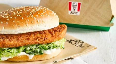 KFC burger, KFC vegan chicken burger, KFC UK, PETA vegan food awards, vegan food, vegan burger, indian express news