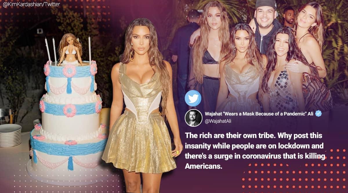 Kim Kardashian West, Kim Kardashian birthday party private island, Kim Kardashian 40th birthday meme, Kim Kardashian memes, viral news, indian express