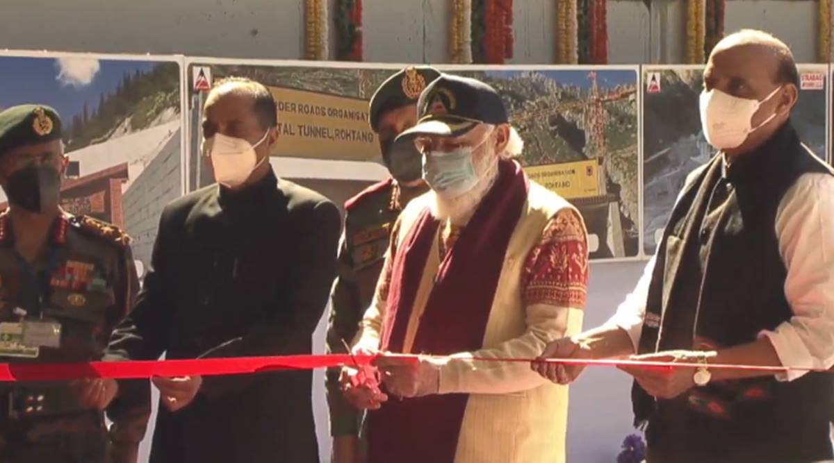 Atal Tunnel inauguration, Prime Minister Narendra Modi, Rohtang Tunnel launch today, Rajnath Singh, Himachal Pradesh tourism, Rohtang Pass, India news, Indian express