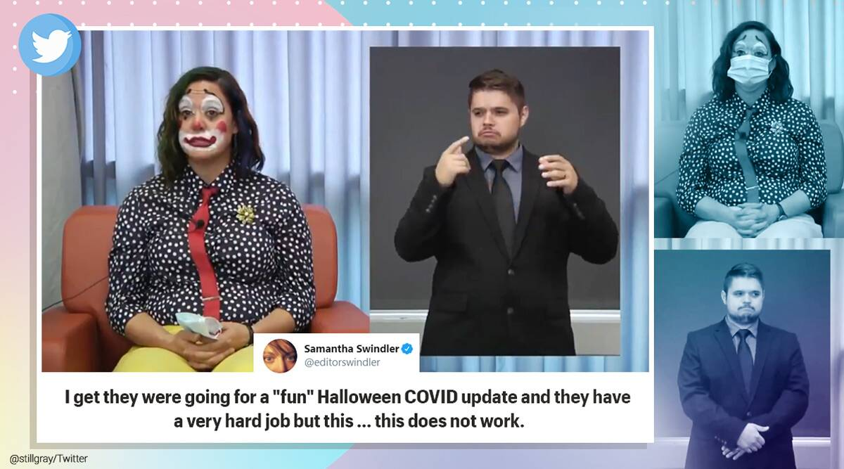 oregon covid briefing clown, oregon health officer clown dress, halloween costume covid briefing, viral video, indian express