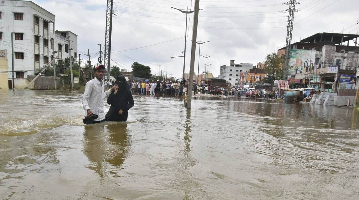 Hyderabad floods, Hyderabad rains, Hyderabad weather, floods in Hyderabad, Telangana floods, Hyderabad news, city news, Indian Express