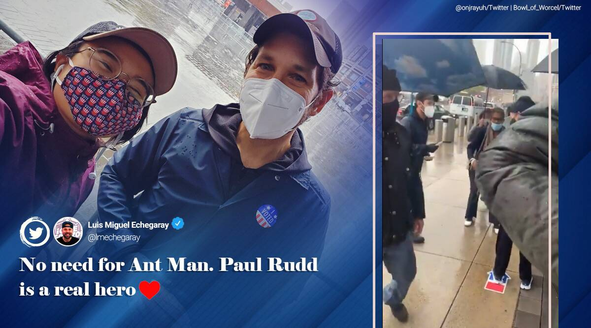 Paul Rudd, Paul Rudd cookies to voters, Paul Rudd hands out cookies Brooklyn voters, US early voting, US Presidential elections, viral news, good news, indian express