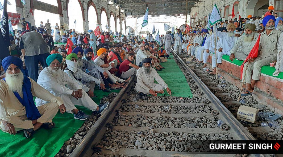 Farmers protests, Amritsar farmers agitation, Rail roko, Fram bills, India news, Indian express