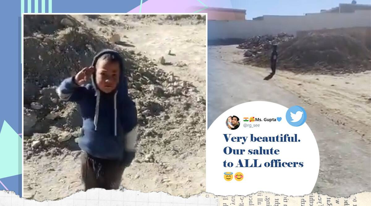 Ladakh, boy salutes ITBP Officers, Chushul, viral video, ITBP troops Ladakh, Tibetian Border Police, Trending news, Indian Express news.
