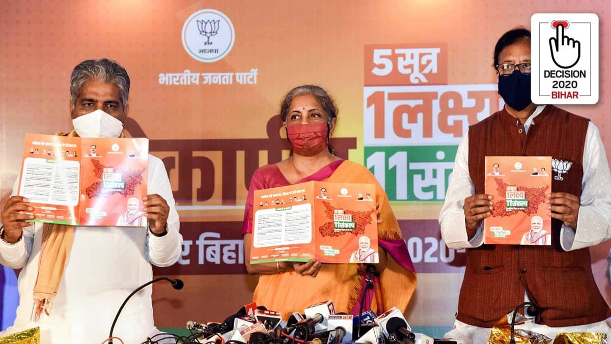 Bihar elections, Bihar elections 2020, Bihar elections BJP manifesto, Bihar elections BJP vaccine promise, BJP vaccine promise Bihar elections, covid vaccine, covid vaccine Bihar, Elections news, Indian Express