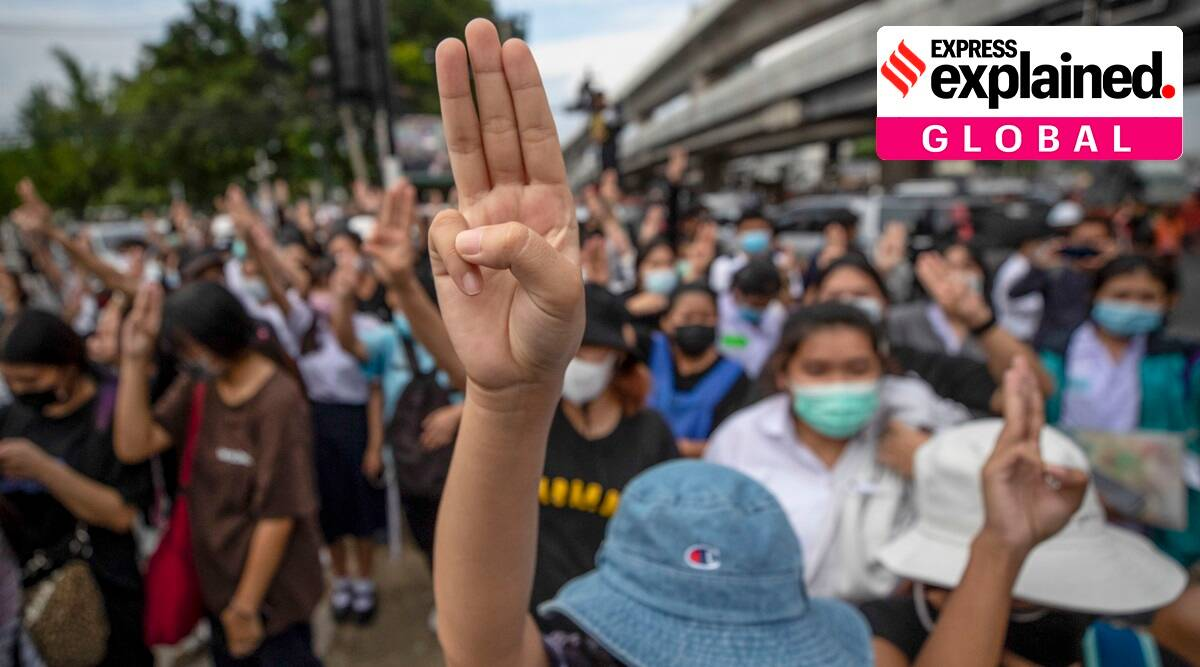 Thailand, Thailand protests, thai protesters hand signals, thailand protests three finger salute, indian express