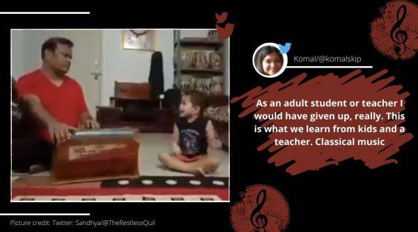 Toddler singing classical music, Toddler natya sangeet, toddler with man home concert, boy singing classical music, Trending news, Viral video, Indian Express news.