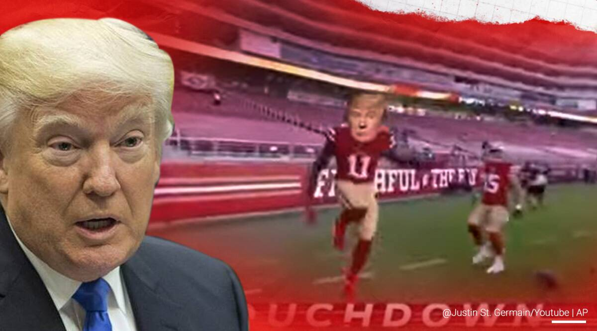 US President Donald Trump, Trump campaign video removed, Twitter remove Trump campaign video, Trump nfl spoof campaign video, Trump campaign video copyrights, NFL parody campaign video, NFL game parody video, Trump NFL parody video, NFL copyrights, Trending news, viral video, Indian Express news