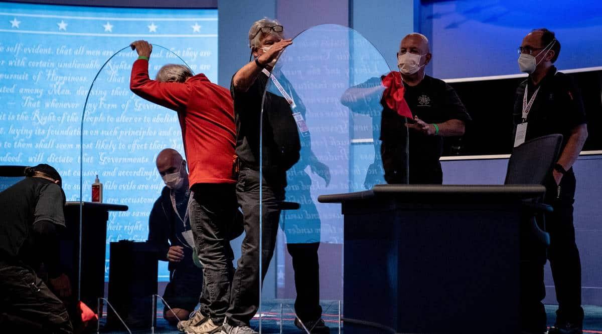 US VP debate, US coronavirus, Covid precautions during VP debate, Mike Pence, Kamal Harris, Pence-Harris debate, US elections, world news, Indian express