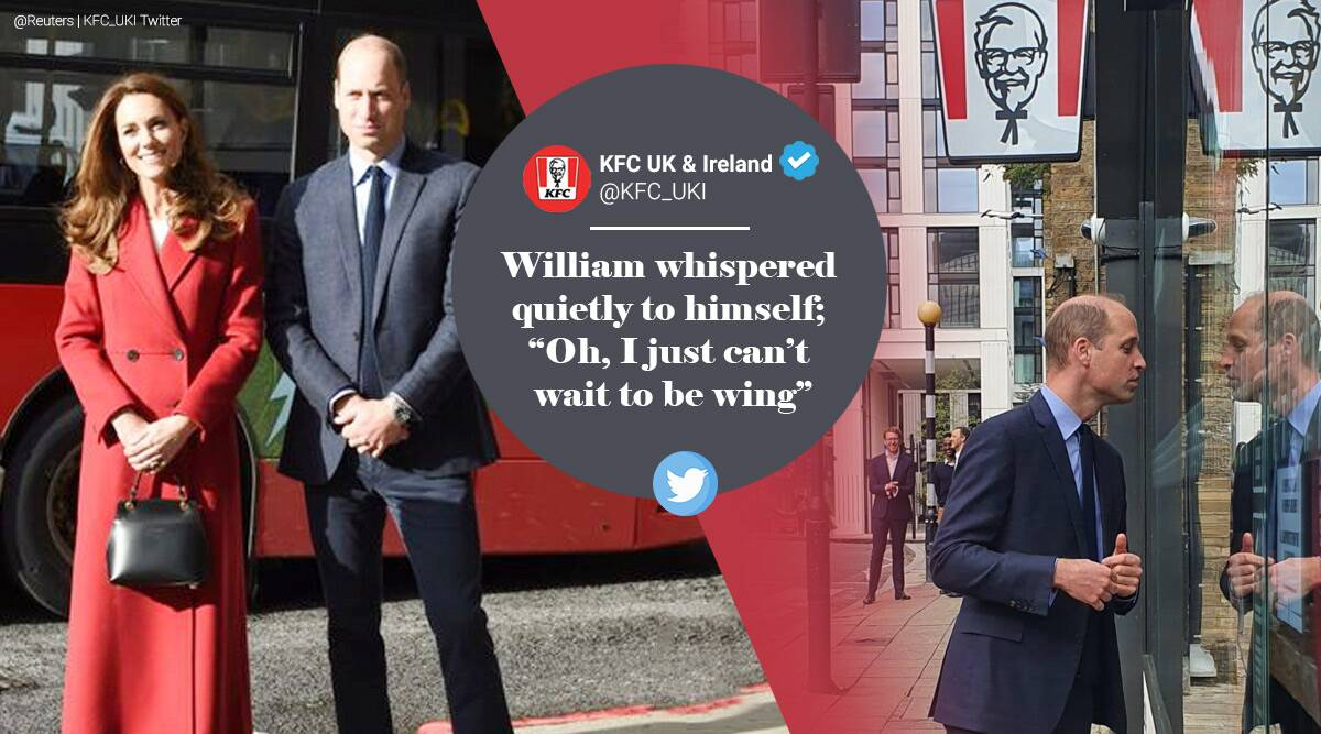 Prince William, KFC, Duke and Duchess of Cambridge, Prince William peeps into KFC restaurant, Prince William KFC picture, Kate Middleton Hold Still project Trending news, Indian Express news.