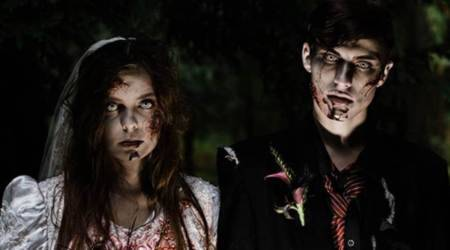 zombie wedding photo shoot, Halloween shoot, zombie-themed wedding shoot in Canada, indian express news