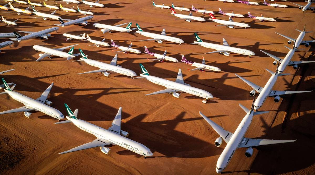 Airplane parking lot in middle of nowhere has never been busier   Business  News,The Indian Express