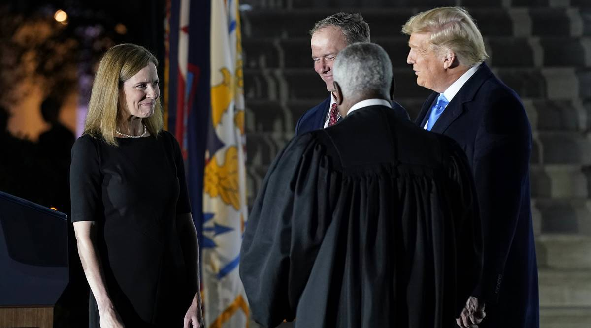 US Elections 2020 Live updates: Amy Coney Barrett sworn in as Supreme Court justice