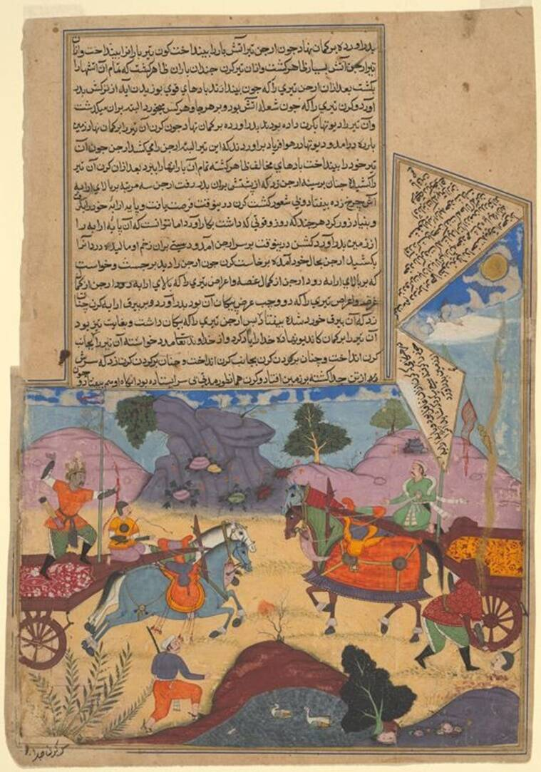persian translation mahabharata, historians on translation of mahabharata, mahabharat epic, indian epics, indianexpress, Jaipur City Palace Museum news, Akbar's original Razmnama,