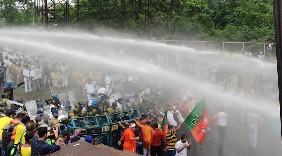 Kolkata: Blue water jets on protesters make BJP demand probe, govt says it's Holi colour