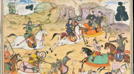 persian translation mahabharata, historians on translation of mahabharata, mahabharat epic, indian epics, indianexpress, Jaipur City Palace Museum news, Akbar's original Razmnama,