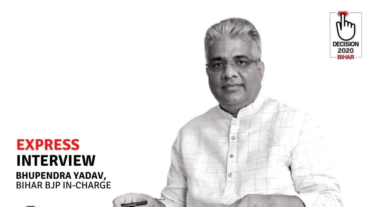 bhupendra yadav, bihar assembly elections 2020, bihar bjp, nitish kumar, bjp jdu alliance, bihar election news, indian express