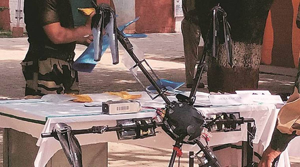 pakistani drones, arms drops pakistani drones, pakistanti drone arms drop kashmir, pakistani drone shot down, drone shot down in kathua, loc, india pakistan, indian express