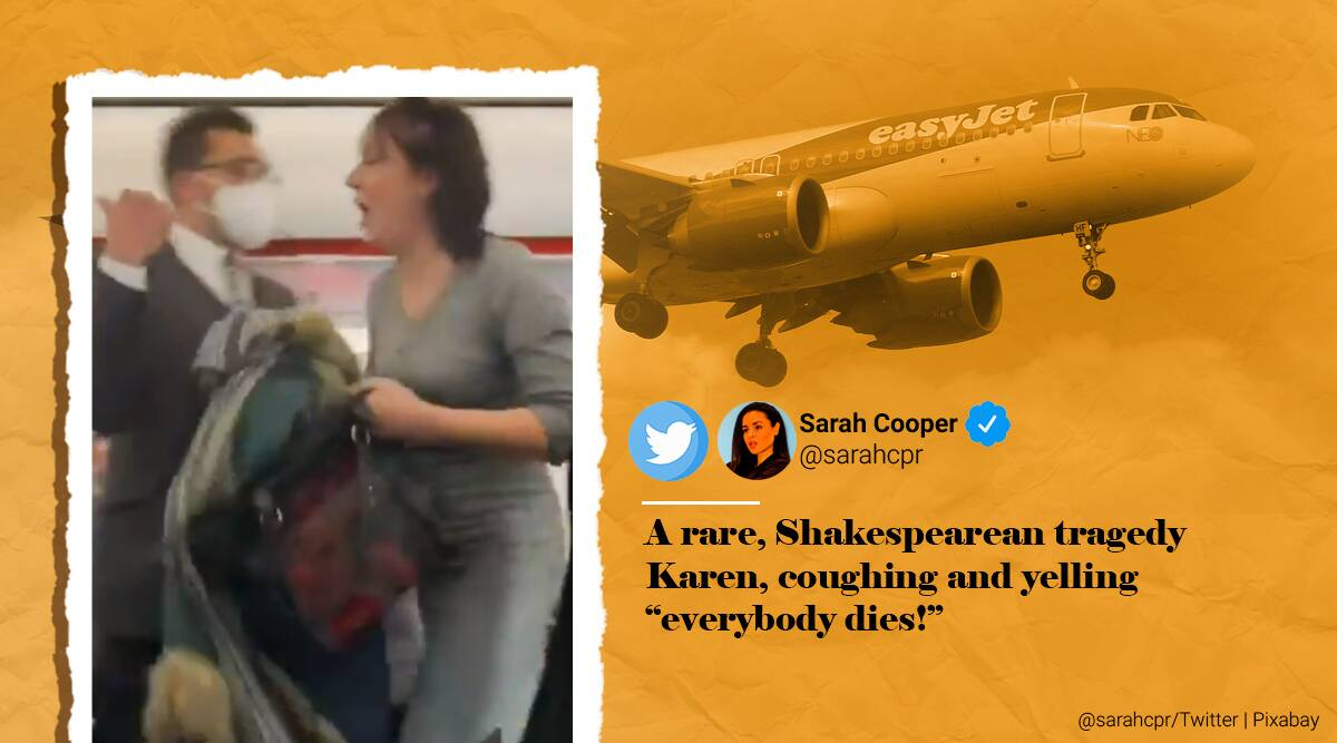 woman no mask booted from flight, passenger swear easyjet crew, anti masker removed from easyjet flight, woman coughs swears easyjet flight, easyjet anti masker deplaned, woman deplaned easyjet flightviral videos, indian express