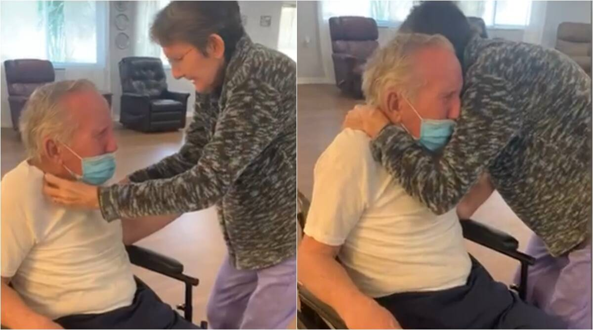 couple reunited, couple reunion after pandemic, florida couple reunion viral video, elderly husband wife reunited, viral news, indian express