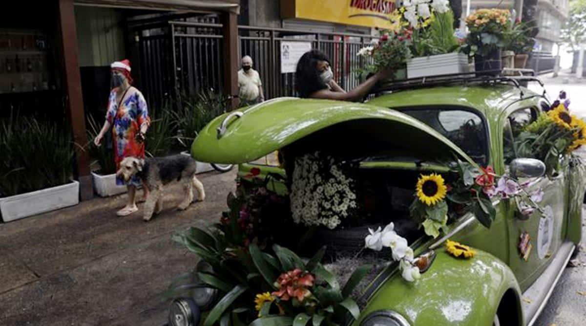 Rio woman COVID-19 survival flower shops beetles , Rio de Janeiro, flower shop viral, trending, indian express, indian express news