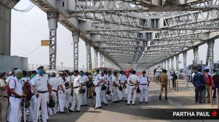 bjp march to nabanna, Tejasvi Surya, Tejasvi Surya kolkata, Tejasvi Surya nabanna, bjp nabanna march howrah bridge, security on howrah bridge, kolkata city news