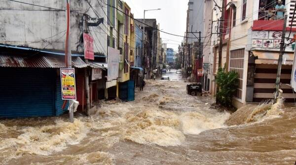 Hyderabad rains, Hyderabad floods, Hyderabad flooding, Telangana rains, Telangana floods, Hyderabad news, city news, Indian Express