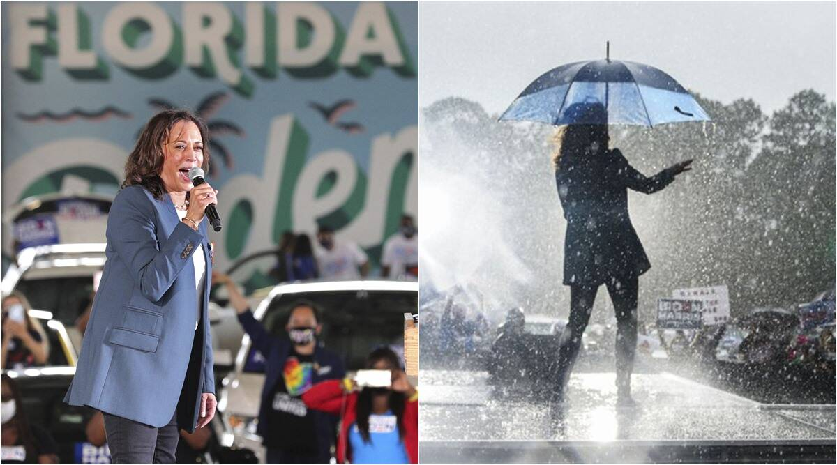 Watch: Kamala Harris dances in the rain, Twitterati can't have enough of it - The Indian Express