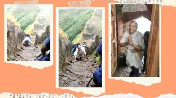 Harihar Fort, old woman steep climb viral video, 68 year old climbs Harihar Fort, Nashik, maharashtra
