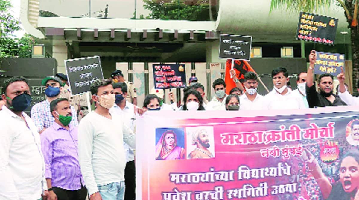 Balasaheb Thorat, maratha quota, maratha quota protest, maratha quota protest outside residence of Balasaheb Thorat, maharashtra news, indian express news