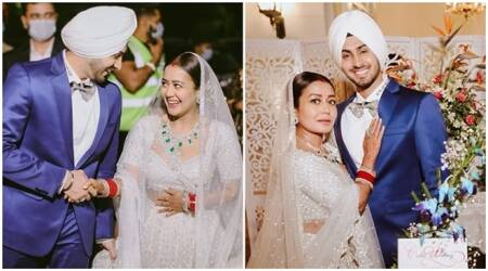 neha kakkar wedding photos, neha kakkar, neha kakkar reception, neha kakkar wedding, neha kakkar marriage, neha kakkar husband, neha kakkar rohan preet singh,