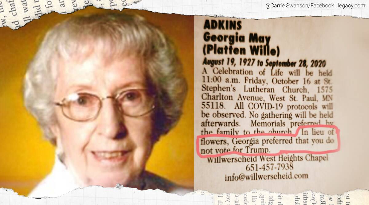 93-year-old woman obituary, Do not vote for rump obituary, woman dont vote for trump obituary, US election 2020, trending news, Indian Express news