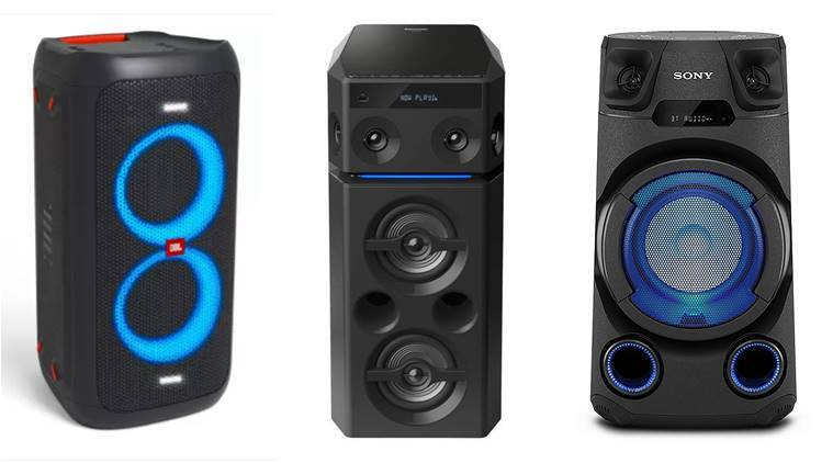 party speakers under 20000, LG XBOOM party speaker, JBL Party Box 100 Portable, Sony MHC V 13 party speaker, Panasonic party speaker, Sony MH VC 02 party speakers