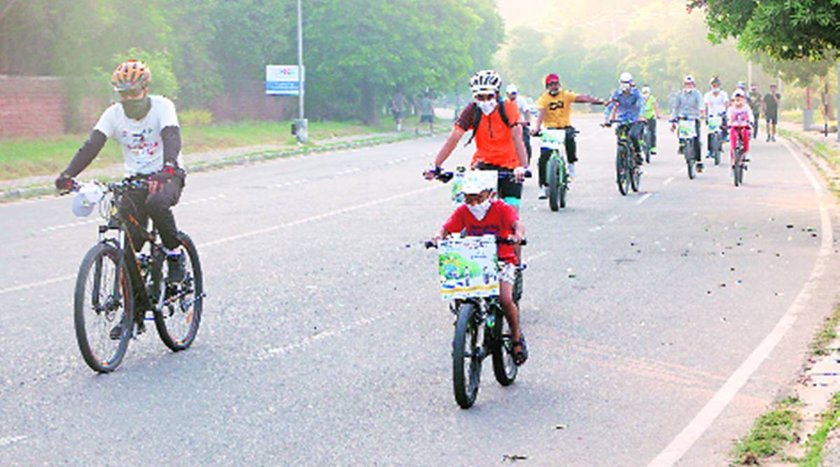 Chandigarh cycle rally, Chandigarh cycle4change challenge, Chandigarh Municipal Corporation, K K Yadav, Chandigarh news, Punjab news, Indian express news
