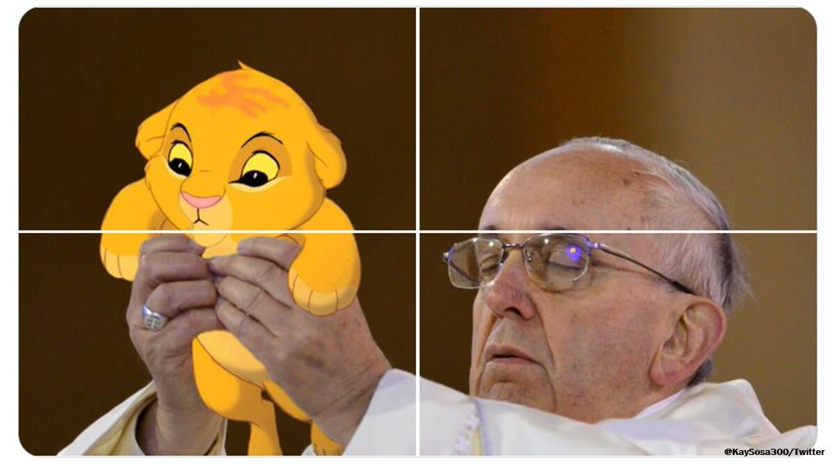 pope francis, pope memes, pope holding up hands meme, Pope Francis Holding Eucharist, pope Eucharist photoshop challenge, viral news, indian express
