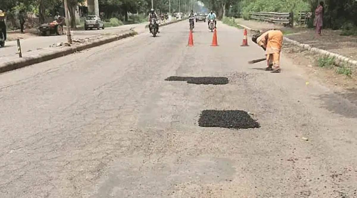 Chandigarh pot holes, Chandigarh road construction, Chandigarh news, Punjab news, Indian express news