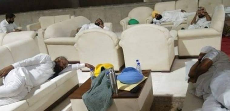 AAP MLAs spend night inside Punjab Assembly in protest over farm Bill