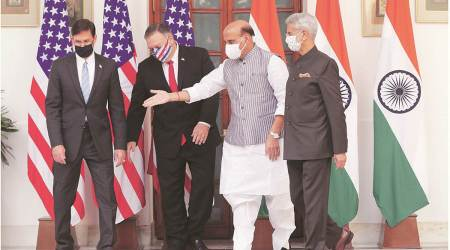 Defence Minister Rajnath Singh, Foreign Minister S Jaishankar (R), U.S. Secretary of State Mike Pompeo (2L) and Secretary of Defence Mark Esper (L) during a press statement at New Delhi (File/PTI)